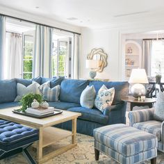 "Brooke Wagner Design on Instagram: ""All shades of blue in this family room #coastal #luxuryliving #BWD #customhome #interior #homedesign #familyroom #cococozy @ryangarvin"""