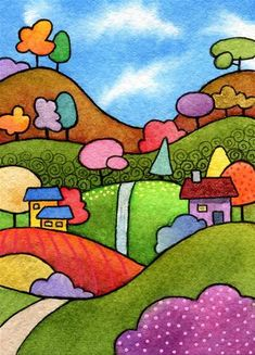 Cat Drawing For Kid, Scenery Drawing For Kids, Pop Art Drawing, Art Drawings For Kids, Easy Drawings, Easy Art For Kids, Easy Painting For Kids, Imagination Drawing, Watercolor Landscape Paintings