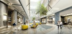 shopping mall rendering from silkroad Shopping Mall Interior, Shopping Malls, Mall Design, Zhengzhou, Lounge, Interior Rendering, Street Mall, Tree Designs, Commercial Interiors
