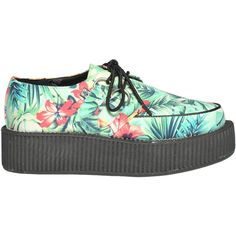 Tuk Flower Print Creepers Shoes ($58) ❤ liked on Polyvore featuring shoes, round toe shoes, t u k shoes, mid heel shoes, t.u.k. and rubber sole shoes