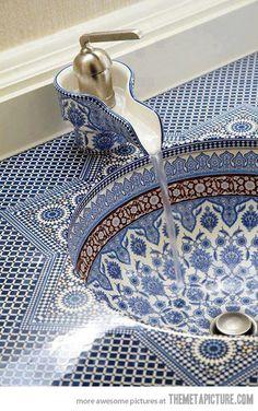 Blue and White Mosaic Bathroom Sink