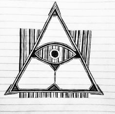 Illuminati triangle barcode tattoo design. Drawing art