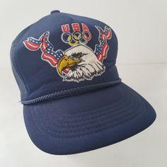 Vintage USA Olympic Trucker Hat Drew Pearson Eagle Flag Olympics Mesh Cap by TraSheeWomen on Etsy Us Olympics, Mesh Cap, Hats For Sale, Snapback, Eagle, Baseball Hats, Navy Blue, Flag, Take That