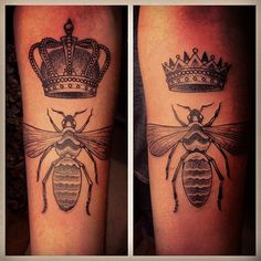 Tattoo by Gregorio Marangoni - loving the crowns! not so much the bees