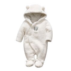 Newborn baby clothes bear onesie baby girl boy rompers hooded plush jumpsuit winter overalls for kids roupa infantil menina