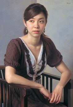 """Moon Rainbow"" - Nobuyuki Shimamura, oil on canvas, 2012 {figurative realism art female seated woman cropped painting} Hoki Museu"