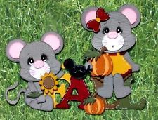 Fall mice title BOY GIRL premade paper piecing for scrapbook pages CBC TSPD *****SOLD******