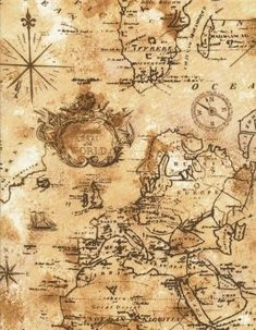 Pirate Ship Treasure World Map Silk Canvas Fabric Poster Wall Decor 43 No Frame