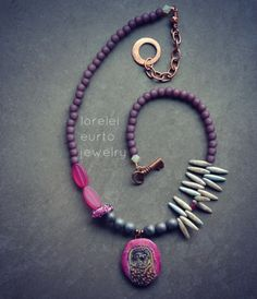 Purple Asymmetrical Owl necklace | Lorelei Eurto Jewelry