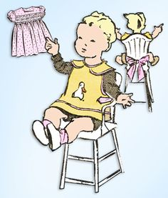 1940s Original Vintage Superior Sewing Pattern 6294 Baby Dress & Bib Size 6 mos #SuperiorPattern #BabyDressandBib