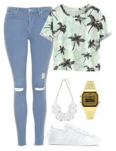 """""""I love it !!"""" by maevadirectioner ❤ liked on Polyvore featuring мода, Topshop и adidas"""