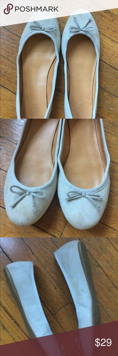 J Crew light gray suede ballet flats, 9 J Crew light gray ballet flats, size 9. Only worn a few times! Some minor dirt that looks like it will come out with suede cleaner...see pics. J. Crew Shoes Flats & Loafers