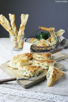 bärlauch-frischkäse im knusprigen blätterteig   wild garlic (ramson) cream cheese in cripsy puff pastry (vegan & vegetarian)
