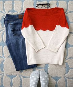 this is too cute!!! red and white sweater perfect for christmas