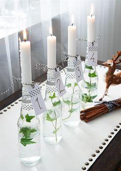 Adventsljusstake i glas.