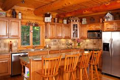 I like the countertops and backsplash. Traditional Kitchen Log Cabin Decorating Design, Pictures, Remodel, Decor and Ideas - page 27