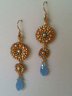 Gold & Pale Blue Circle Earrings by Jeka Lambert.  Seed bead woven.  Glass beads, seed beads.