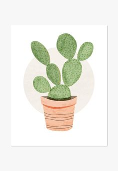Original watercolor illustration of a prickly pear cactus. For home and office. A nice housewarming gift. One in a series of Cute Cacti Also available - Cactus Print: Prickly Pear Cactus - Archival fu Cactus Drawing, Cactus Painting, Cactus Art, Plant Drawing, Cactus Flower, Cactus Pics, Drawing Step, Cactus Decor, Flower Pots