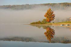 Mist rising off of Deep Creek Lake