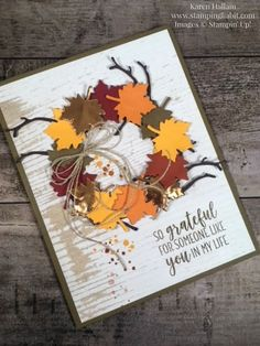 swirly scribbles seasonal layers autumn wreath card idea country home stamp set wood textures dsp grateful for you stampin up karen hallam stampinup Stampin Up Karten, Karten Diy, Fall Cards, Holiday Cards, Christmas Cards, Handmade Thanksgiving Cards, Thanksgiving Greeting Cards, Thanksgiving Wishes, Prim Christmas