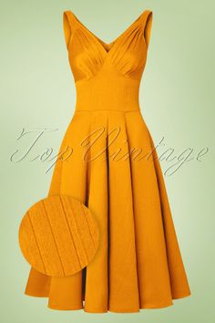 You'll be prettier than the prettiest diamond when wearing this 50s Odessa Swing Dress! 'Give a woman the right dress and she can conquer the world'... that is how Odessa will make you feel. She's a real gem in every way; from her stunning sweetheart neckline with pleated cups to the subtle V-back and the amazing sun yellow colour. Show-stopper? Oh yes! The fitted top and full swing skirt ensure a feminine and flirty silhouette, oh la la. Made from a supple fabric th...
