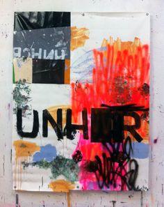Hermann Josef Hack, UNHCR, 140815, painting and spray paint on tarpaulin, 196 x 151 cm, 2014