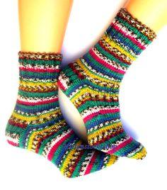 Hand knitted socks Warm socks Striped Winter by MittensSocksShop