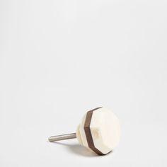 Wood and Bone Knob (Set of 2)