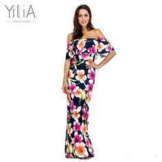Yilia Women Boho Maxi Dress 2018 New Spring Summer Style Off Shoulder  Ruffled Print Long Dresses Feminine Floor Length Gown dbfdecdf1c53