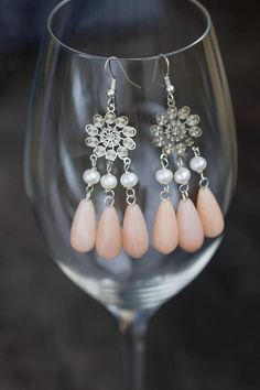Peach Moonstone Earrings Boho Wedding Earring Extra Long