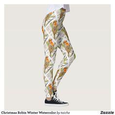 Shop Christmas Robin Winter Watercolor Leggings created by taiche. Workout Leggings, Women's Leggings, Harem Pants, Pajama Pants, Christmas Leggings, Robin, Watercolor, Winter, Shopping
