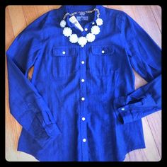 Dark wash denim/chambray shirt Super soft denim button down shirt. Brand new! Tag says softened and is made of 100% cotton. LOFT Tops Button Down Shirts
