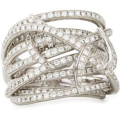 Stephen Webster Forget Me Knot Barbed Diamond Ring (1.029.300 RUB) ❤ liked on Polyvore featuring jewelry, rings, pave jewelry, pave band ring, diamond jewelry, diamond wrap ring and diamond rings
