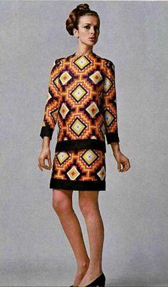 #SIXTIES PHILIPPE VENET amazing print dress by philippe Venet 1967.60's fashion.