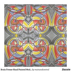 Brain Freeze-Bold Colorful Fabric with Hand Painted Modern Geometric Pattern