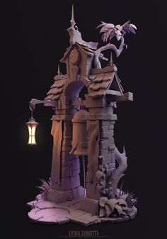 Bell Tower sculpt I worked on for a week. Concept by Peet Cooper for Riot Games. 3d Fantasy, Fantasy House, Environment Concept Art, Environment Design, Zbrush Environment, Game Environment, Prop Design, Game Design, Cartoon House