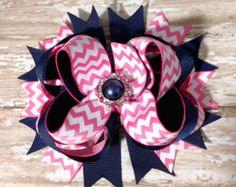 Navy Blue and Hot Pink Chevron OTT Loopie Hair Bow, Infant Headband, Baby Headband, Birthdays, School Bows, Baby & Toddler