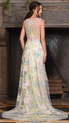 claire pettibone fall 2017 bridal sleeveless bateau neckline colored floral embroidered full embellishment elegant vintage art nouveau a  line wedding dress sheer back sweep train (maia) bv