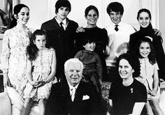 """Happy Father's Day to those who are celebrating it today! """"Charlie and Oona Chaplin with all eight of their children in the late 1960s - (L-R) Josephine; Jane; Michael; Geraldine; Christopher; Eugene; Victoria and Annette. Charlie had fathered three..."""