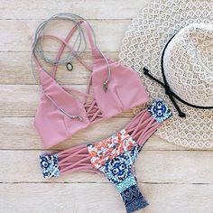 Chloé X Bikini Top in Romance & Chloé Bikini Bottom in Boho Romance - Beach Babe Swimwear®