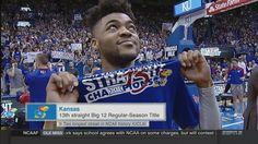 Kansas wins 13th-straight Big 12 title, ties NCAA record set by UCLA. Bill Self's Jayhawks joined some elite company on Wednesday 2/22/17. Senior Frank Mason III shares the new Championship t-shirt.