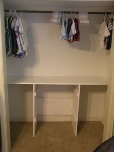 DIY closet shelves with built in laundry baskets