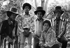 Jackson 5 outside at home in Encino, California, 1974