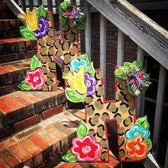 queensofcastles shared a new photo on Etsy Teacher Door Hangers, Letter Door Hangers, Initial Door Hanger, Wooden Door Hangers, Wooden Doors, Painted Chairs, Painted Wood, Animal Print Decor, Door Hanger Template
