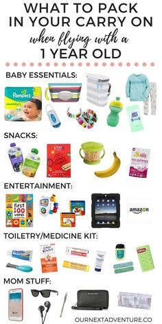 What to Pack in a Carry On for a 1 Year Old Toddler Plane Travel, Baby On Plane, Travel Toys For Toddlers, Baby Travel, Travel With Kids, Family Travel, Flying With A Toddler, Disney With A Toddler, One Year Old Baby