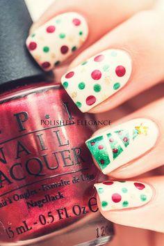 Holiday nails. Polka dots. Green red and gold. Christmas tree nails