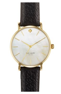 Not sure of mother of pearl, but otherwise classic kate spade new york 'metro' round leather strap watch, 34mm | Nordstrom