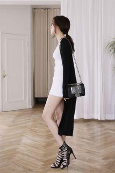 White dress and long coat
