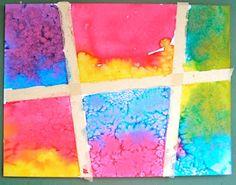 Kindergarten- liquid watercolours, masking tape, watercolour paper. Teaching wet-on-wet painting.