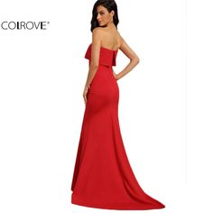 COLROVE Summer Style Elegant Sexy Occasion Red Strapless Maxi Dresses  New Arrival New Sleeveless Long Dress